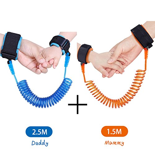 KPACO Baby Child Anti Lost Safety Wrist Link Harness Strap Safe Skin Friendly Rope Leash Walking Hand Belt Band Wristband Wrist Link for Toddlers, Babies and Kids (4.9ft Orange + - Sites Romania