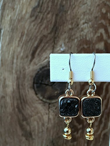Square Nugget (Druzy Quartz Modern Earrings - Charcoal Druzy - Square Bezel Set Druzy Stone - Gold Nugget and Bead - Hypo-Allergenic French Ear Wires)