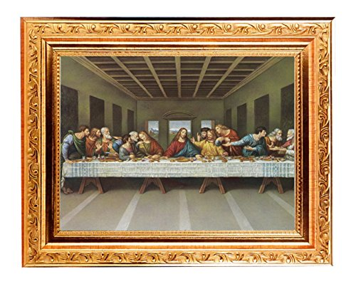 Last Supper by Leonardo Da Vinci 8x10 Fine Detailed Scroll Carvings Antique Gold Frame 6x8 Italian Lithograph with Glass Comes with Exclusive Copyrighted Paul Herbert -