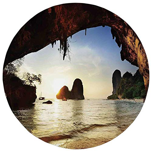 Round Rug Mat Carpet,Natural Cave Decorations,Water Eroded Reed Flute Cave Chinese Cistern Rain Harvest with Artsy Photo,Multi,Flannel Microfiber Non-Slip Soft Absorbent,for Kitchen Floor Bathroom]()