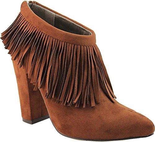 Michael Antonio Womens Jessika Sue Fringe Ankle Boot Cognac