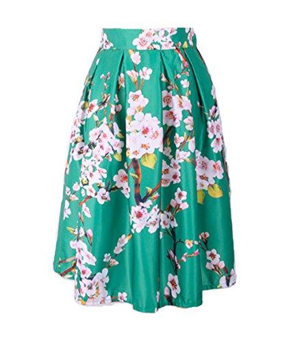 Plage Vert longue Mi Fille Vacances Jixin4you Voyage Floral Jupe Et Elastique Femme Dame Anniversaire 0xxzqYwO