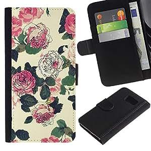 For Samsung Galaxy S6 SM-G920,S-type® Flowers Wallpaper Pink Green Beige - Dibujo PU billetera de cuero Funda Case Caso de la piel de la bolsa protectora
