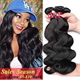 HEBE 10A Peruvian Hair 3 Bundles 14 16 18 Inches Peruvian Body Wave 100% Unprocessed Peruvian Human Hair Weave Extensions Natural Black Color Can be Dyed