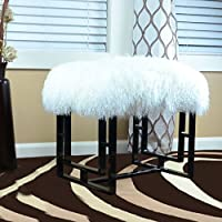Tibetan / Mongolian Lamb White Fur Bench With Black Metal Base Oriental Style By C.F Inspirations LLC