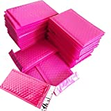 "SES.CO 4x8"" Small Hot Pink Padded Envelopes,Poly Bubble Mailer with Waterproof & Tamper-Resistant,Self Sealing Padded Mailing Bag for Makeup/Lipstick/Gift/Accessories/Jewelry(Size 000,50 Pack)"