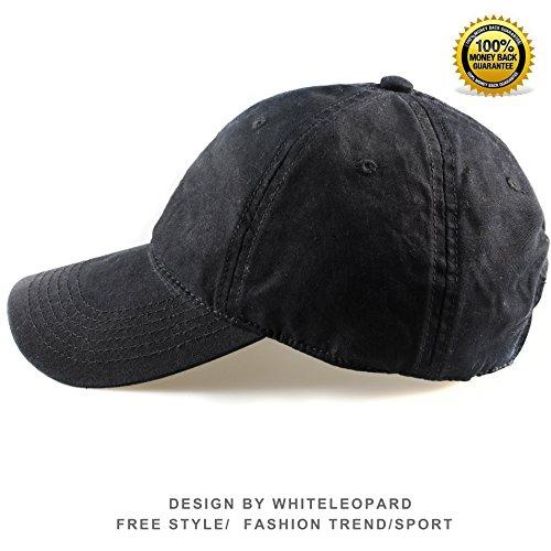 [100% Cotton Baseball Cap Unisex Plain Hat with Adjustable Velcro (Black)] (Logo Adjustable Cotton)