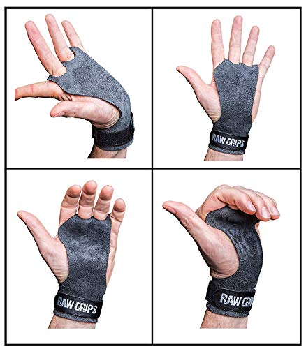 JerkFit RAW Grips - 2 Finger Leather Hand Grips for Gymnastics & Cross Training - Full Palm Protection 4 WODs Weightlifting Calisthenics Pull ups - Prevents Rips & Blisters (Large)