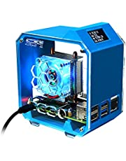GeeekPi Mini Tower Kit,Raspberry Pi 3D Printed Case with Low-Profile CPU Cooler Kit,Raspberry Pi Power Supply with 0.96 Inch OLED Module for Raspberry Pi 3B/3B+/4B