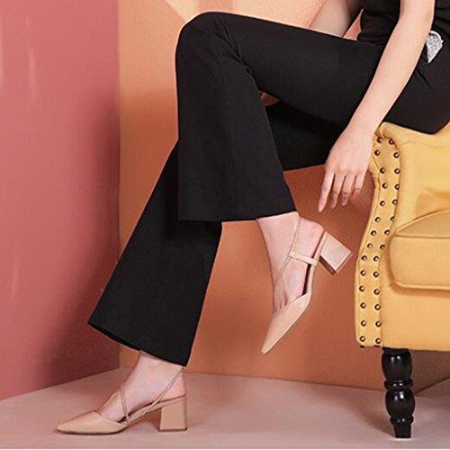 de Summer Albaricoque Albaricoque Albaricoque Color 2018 Baotou coreano talón Tamañ de del Back Space New de Spiked las alto zapatos tacón mujeres grueso tacón Zapatos de MUMA femenino Black sandalias tacón fq0Iw1np