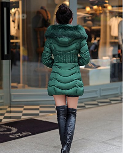 Jacket Waterproof Slim Blend Quilted Stand Zipper Front Outcoat with Fit Cihui Green Collar Cotton Women gXzw5ngqxY
