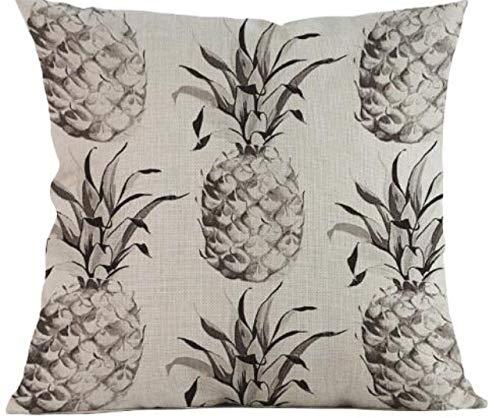 (Makana3 Hawaiian Tropical Aloha Pineapple Cushion Cover 18 x 18 inch Single-Sided Pattern Throw Pillow Cover for Sofa Couch Loveseat (Vintage Pineapple))