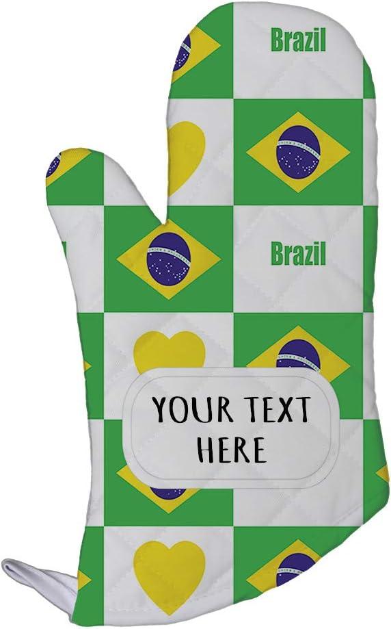 Style In Print Polyester Oven Mitt Custom Brazil Flag Heart Pattern Adults Kitchen Mittens