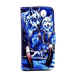 S4mini Case, Galaxy S4mini Case, Simlcase Wolf Dream Catcher Durable Premium PU Leather Flip Folio Book Style Wallet Protective Skin Pouch Phone Case & Magnetic Closure with Credit/ID Card Slot [Inner Silicone TPU Holder] [Kickstand Feature] [HD Screen Protector Gifted] for Samsung Galaxy S4mini