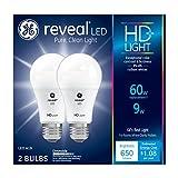 GE Lighting Reveal HD LED 9-watt (60-watt Replacement), 650-Lumen A19 Light Bulb with Medium Base, 2-Pack - 98877
