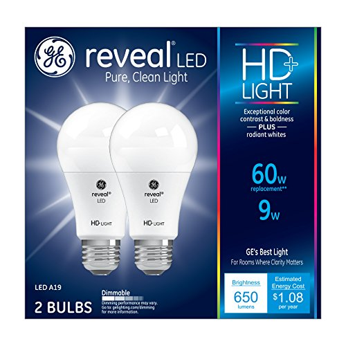 GE Lighting Reveal HD LED 9-watt (60-watt Replacement), 650-Lumen A19 Light Bulb with Medium Base, 2-Pack (Lights Medium Base A19)