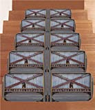 iPrint Non-Slip Carpets Stair Treads,Industrial,Zinc Style Wooden Gate Image Street Construction Window Covered with Plank Image Decorative,Brown Grey,(Set of 5) 8.6''x27.5''