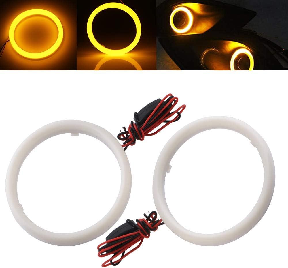 GLL 70MM Angel Eye Fog Light COB White Cotton Light Car Halo Rings for Headlight Daytime Running Light with Milky White Plastic Cover DC 9V~30V