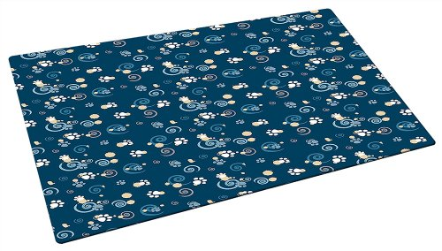 Drymate Small/Medium Dog Bowl Place Mat with Pawcasso Design, 12-Inch by 20-Inch, Dark Blue, My Pet Supplies