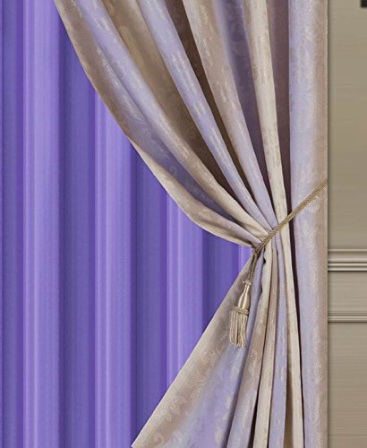"""Elegant Home Window Curtain Drapes All-in-One Set with Valance & Sheer Backing & Tassels for Living Room, Bedroom, Dining Room, and Sliding Doors - 1629 (Lilac / Purple, 120"""" X 84"""")"""