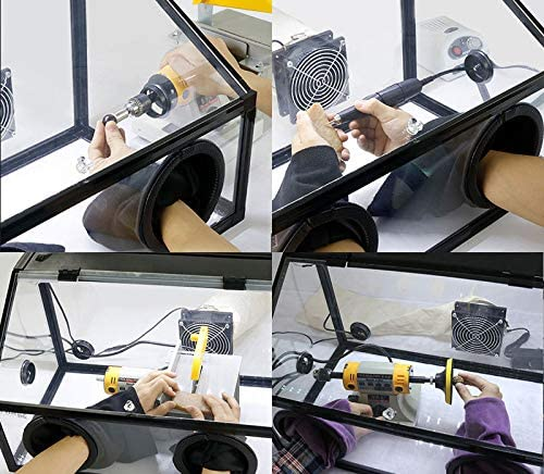 Holes Enclosed Grinding Table Polisher Acrylic Dust Box Cover Item Number#300136 5mm LED Light with Fan INTBUYING 220V Electric Two