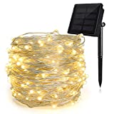 HEEPOW Outdoor String Lights, 200 led 72ft Flexible Copper Wire Lights Auto On/Off 8 Modes Waterproof IP65 Solar String Lights for Garden, Patio, Fence, Window, Tree & Christmas Party (Warm White)
