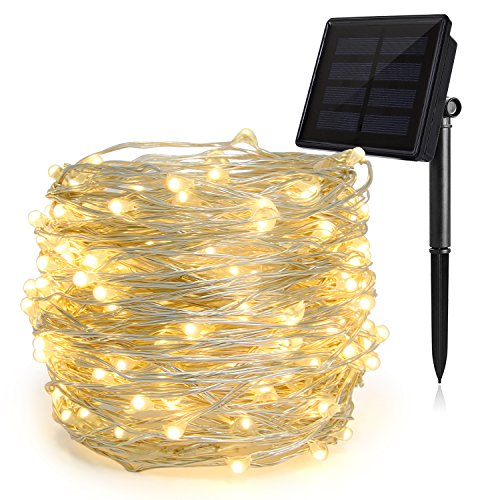 HEEPOW Outdoor String Lights, 200 led 72ft Flexible Copper Wire Lights Auto On/Off 8 Modes Waterproof IP65 Solar String Lights for Garden, Patio, Fence, Window, Tree & Christmas Party (Warm White) by HEEPOW