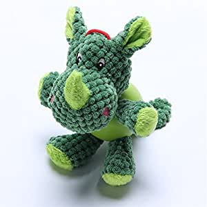 LIZPET Durable Dog Toys for Aggressive Chewers Boredom Small Dogs Green Rhinoceros