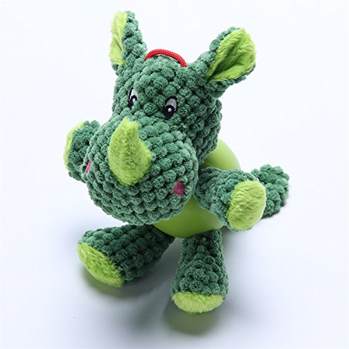 [Durable Dog Toys for Aggressive Chewers Boredom Small Dogs Green Rhinoceros] (Hyper Pet Critter)