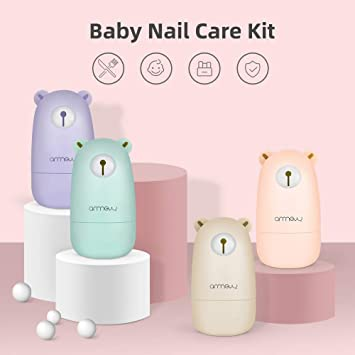 Arrnew - Set de manicura, Kit de cortar uñas, Canastilla regalo para bebé - rosa
