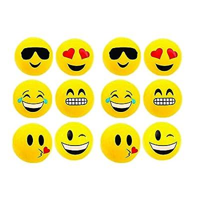 RIN Emoji Beach Balls Inflatable, Pool Birthday Party Toys, 12 Piece: Toys & Games