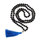 Adabele Premium 108 Mala Beads Malas Necklace - Lava Healing Crystal Tibetan Buddhist Prayer Beads Japa Mala Tassel Necklace for Mantra Meditation Yoga Reiki Chakra Stones (Unisex) RGN4