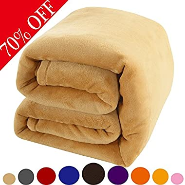 Shilucheng Fleece Soft Warm Fuzzy Plush Lightweight Twin (90-Inch-by-65-Inch) Couch Bed Blanket, Gold