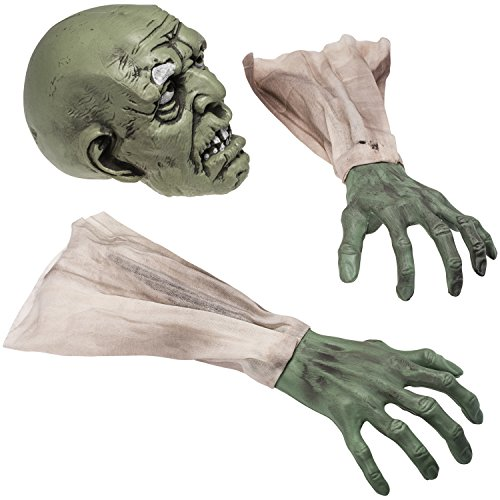 zombie face and arms lawn decor