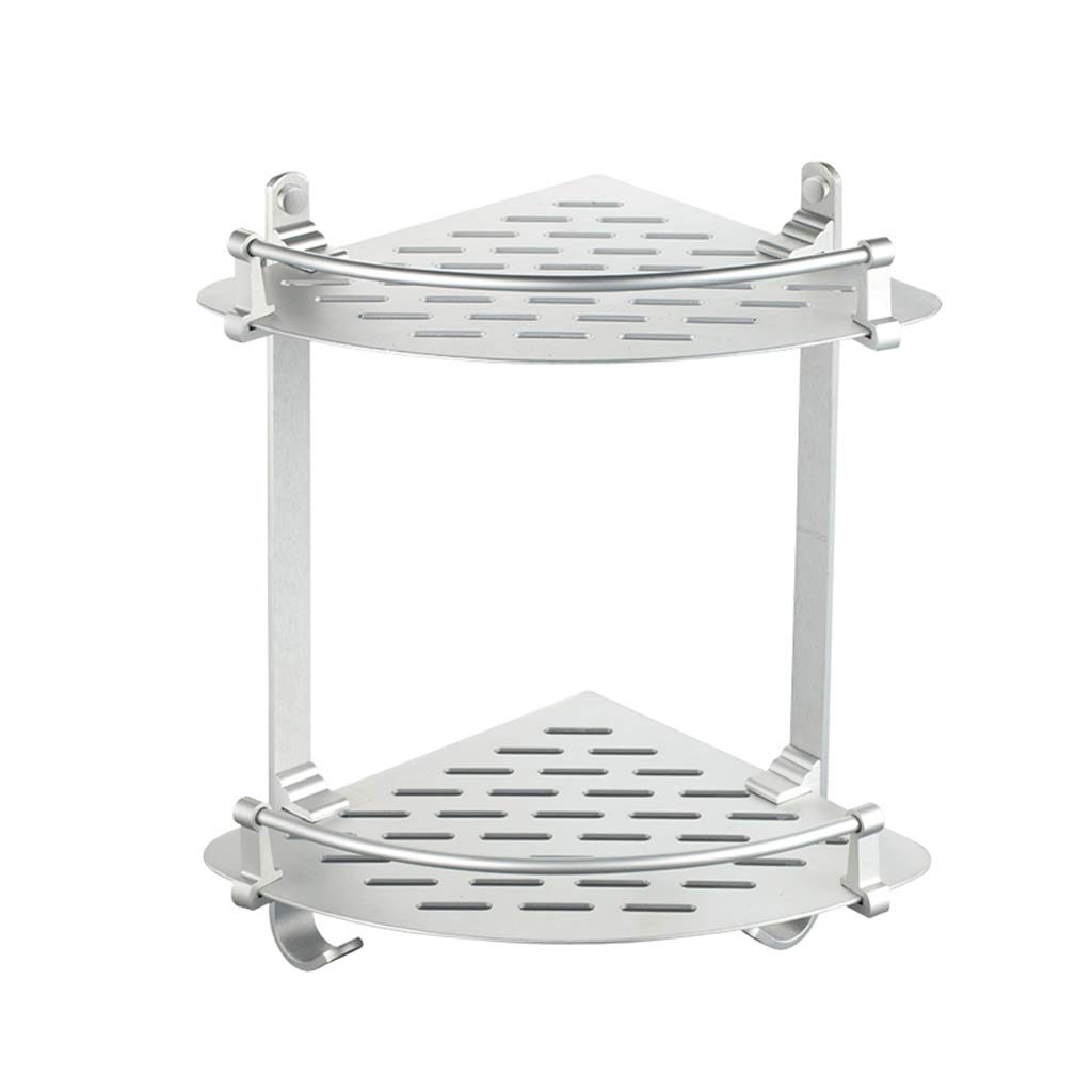 GAOYANG Shower Room Corner Frame, Bathroom Shelf, Bathroom Storage Basket Corner Frame, Tripod Double Stainless Steel, Silver Storage Organizer (Size: 23.523.5cm)