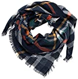 Belle Dame Blanket Scarf for Women Large Square Plaid Checked Tartan Pashmina Shawl Wraps