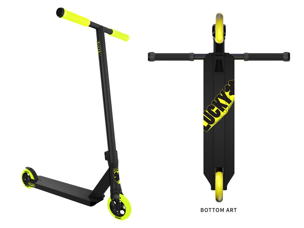 Lucky CREW Complete Pro Stunt Scooter, 2017 Black/Hi-liter by Lucky Scooter