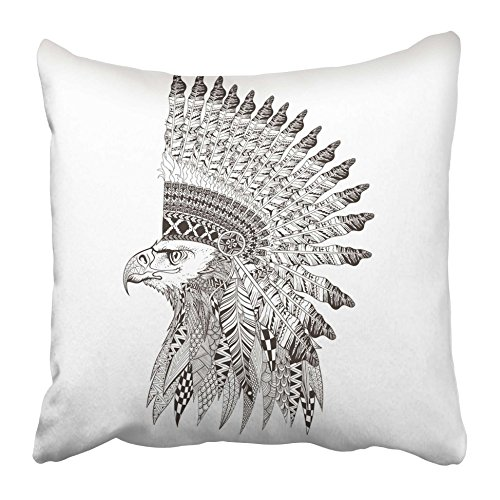 hrow Pillow Covers Cases Watercolor Zentangle Head Eagle in Feathered War Bonnet White Sketch Tattoo Indian Makhenda 16x16 inches Pillowcases Case Cover Cushion Two Sided ()