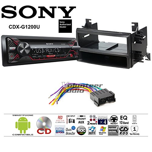 Volunteer Audio Sony CDX-G1200U Double Din Radio Install Kit with CD Player, USB/AUX Fits 2004-2006 Kia Spectra, 2005-2006 Kia Spectra5 ()