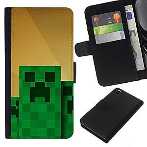 KingStore / Leather Etui en cuir / HTC DESIRE 816 / Monstruo Verde Computer Game Character