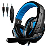 GranVela® 3.5mm Wired Stereo Gaming Headset with Mic, Bass Noise Isolation Gaming Headphones with Volume Control and LED Light for PS4 PC Laptop Computer and so on