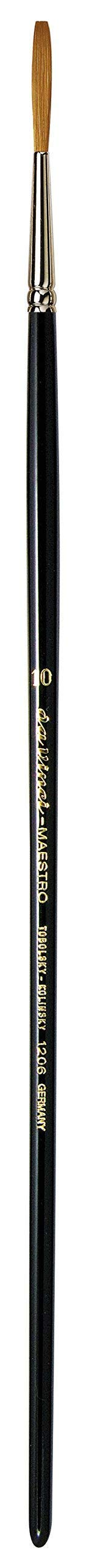 da Vinci Oil & Acrylic Series 1206 Maestro Liner Brush, Medium-Length Straight Edge Kolinsky Red Sable with Black Polished Handle, Size 10 (1206-10)