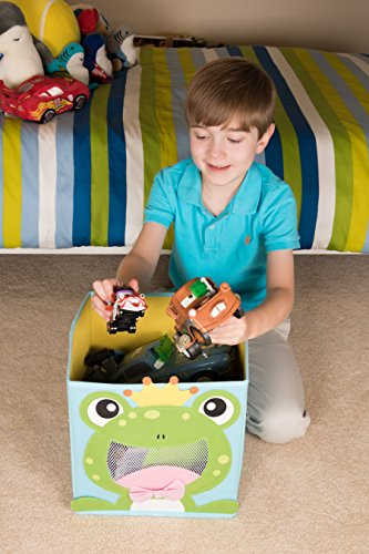 Clever Creations Cute Smiling Frog Collapsible Toy Storage Organizer Toy Box Folding Storage Cube Kids Bedroom | Perfect Size Storage Cube Books, Kids Toys, Baby Toys, Baby Clothes by Clever Creations (Image #5)
