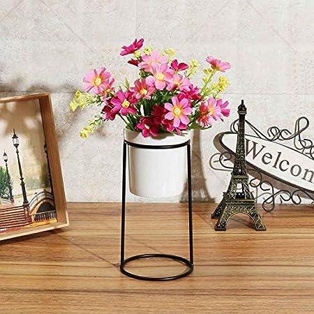 Ceramic Flower Pot Vase With Metal Rack Stand Garden Plant Planter Holder Decor