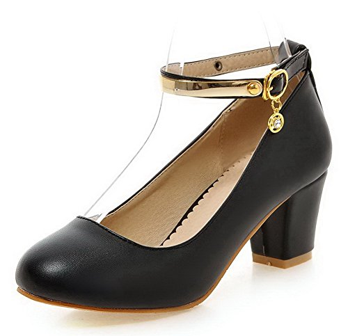 VogueZone009 Women's Round Closed Toe Kitten-Heels Soft Material Solid Buckle Pumps-Shoes Black