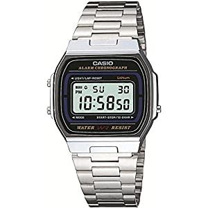Casio Collection – Casio Retro A164WA-1VES con correa de acero inoxidable plateada
