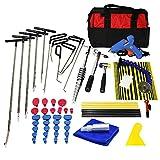 Furuix PDR Kit PDR Rods Hook Tools Paintless Dent Repair Kit Car Dent Repair Dent Removal Reflector Board Dent Puller Lifter Glue Gun Tap Down Tool