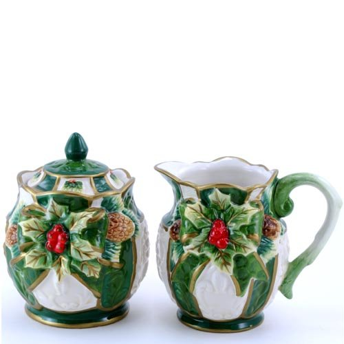 (Green and White Gold-Trimmed with Holly Sugar Creamer Collectible)