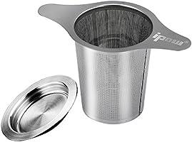 Ipow 茶漉し ティーストレーナー ステンレス製 深型 マグ、カップ、ポット用茶漉し 双持ち手と蓋がある