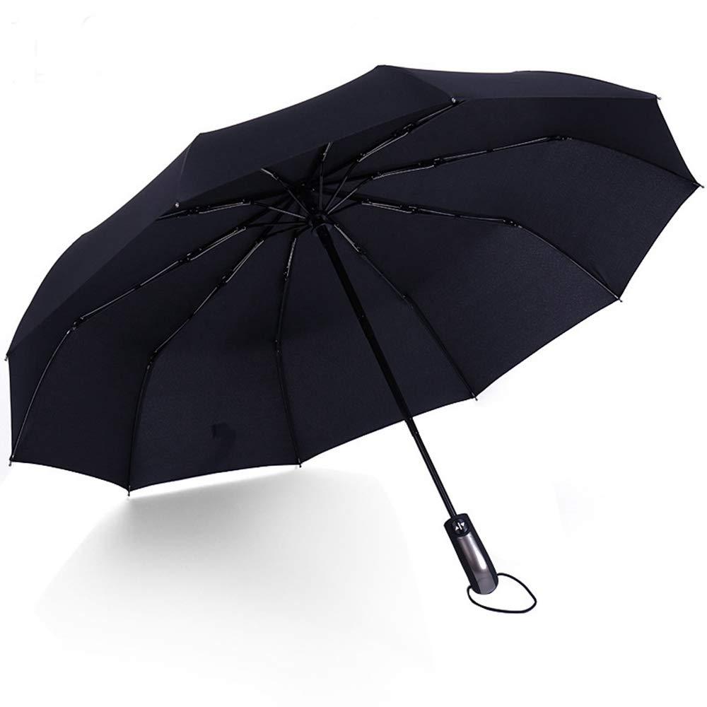 ZhiGe Parapluie,Parapluie ensoleillé,Résistant au Vent Pliant Automatique Parapluie Pluie Femmes Auto Grand Windproof parapluies Pluie pour Homme Noir revêtement 10K Parasol